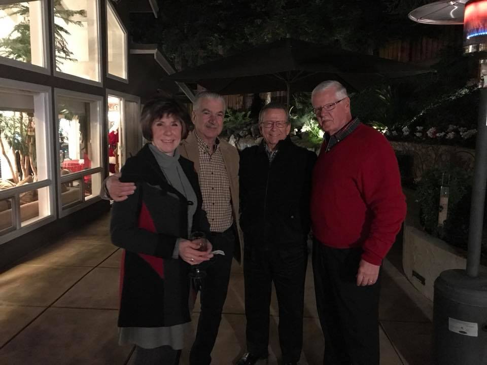 Photo of Vicki and Frank Campanella, Ron Pray and Ted Becker at Gilroy Foundation's 2017 Holiday Party