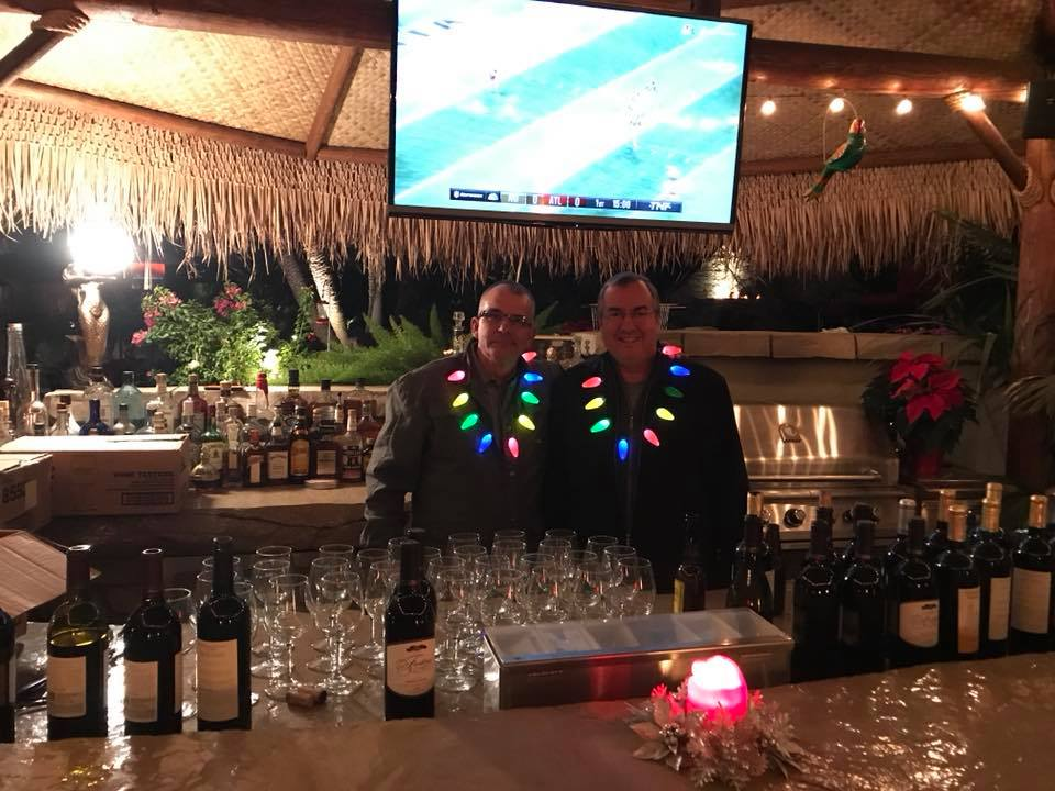 Photo of Bartenders, Randy Costa and Jim Rhodes at Gilroy Foundation's 2017 Holiday Party