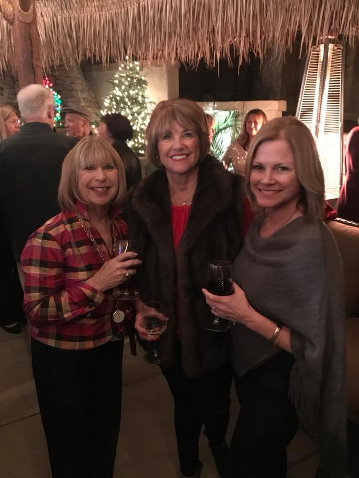 Photo of Donna Pray, Karen Christopher, and Lori Kent at Gilroy Foundation's 2017 Holiday Party