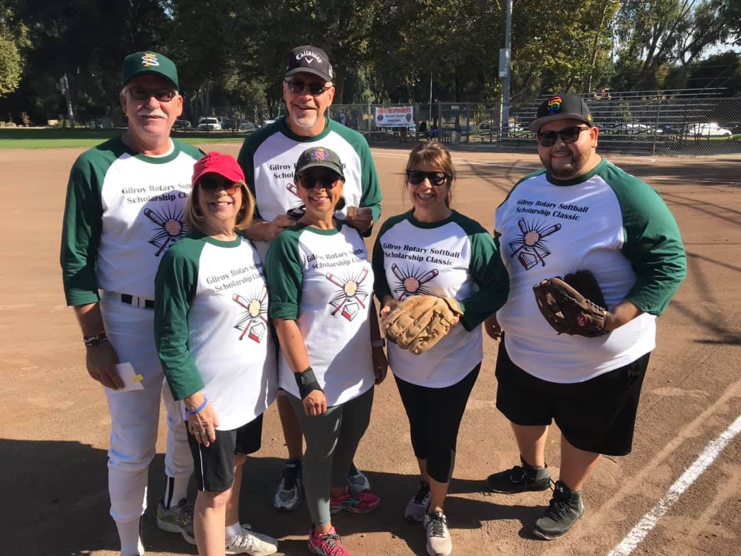 Photo of Joel Goldsmith, Jay Baksa, Donna Pray, Deb Sanchez, Marie Blankley, and Carlos Pineda playing at the Gilroy Celebrity Softball Game