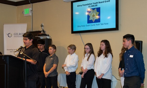 Photo of Gilroy Foundation Youth Board Members on Stage at the 2017 Annual Meeting and Charitable Giving Presentation