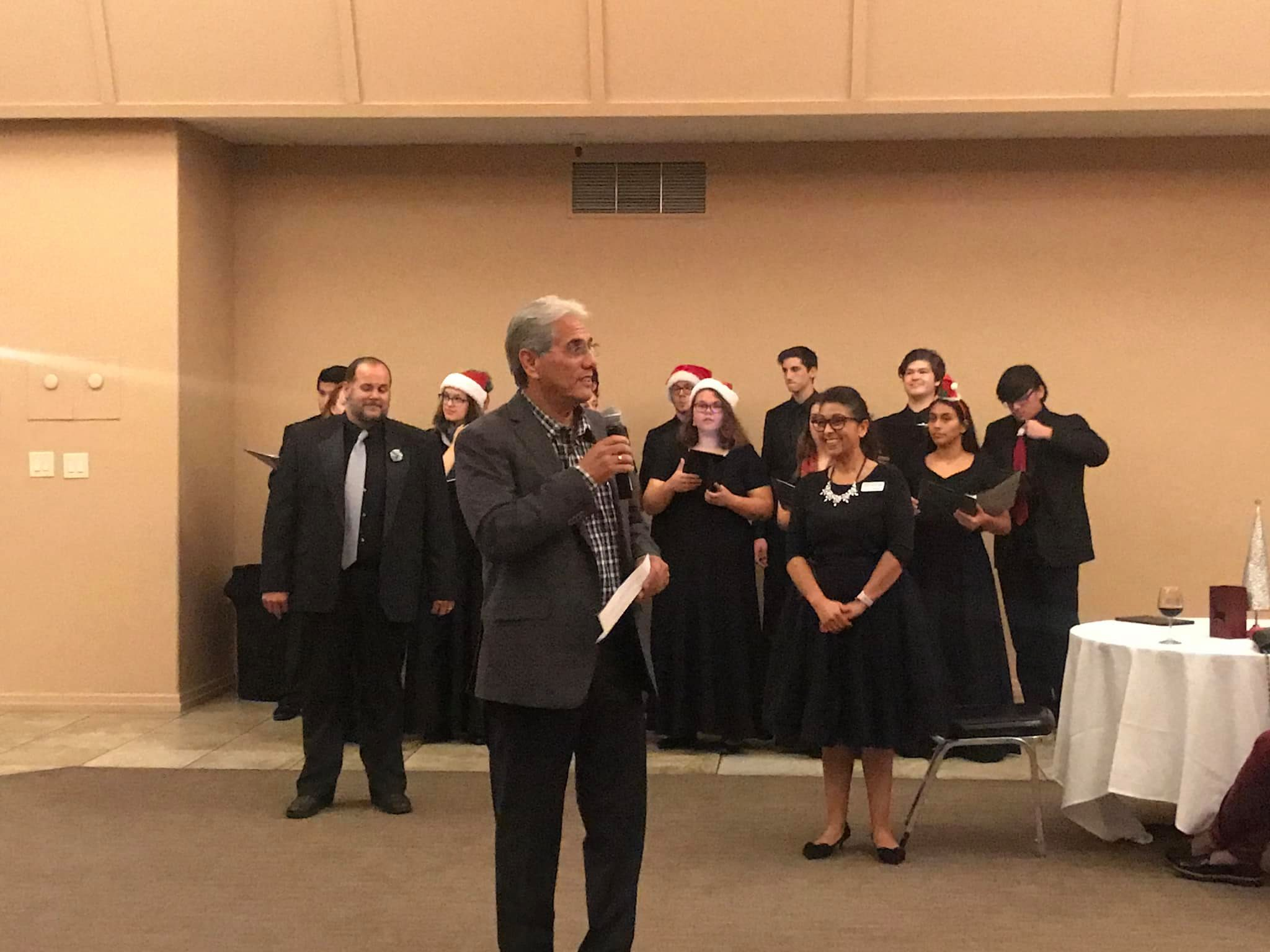 Photo of Edwin Diaz, Deb Sanchez and Gilroy High Chamber Choir