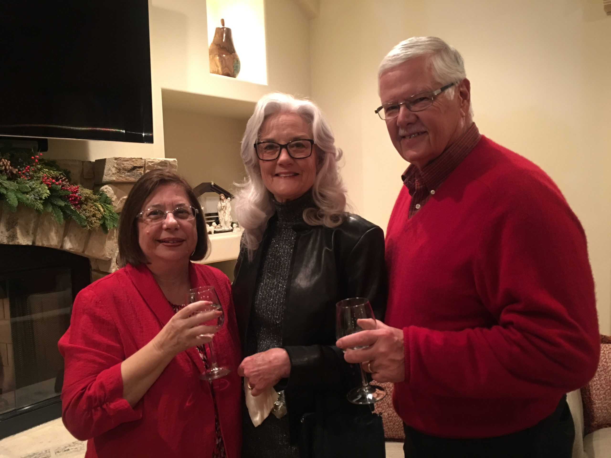 Photo of Nancy Becker, Ted Becker and Friend at Gilroy Foundation's Holiday Party 2018