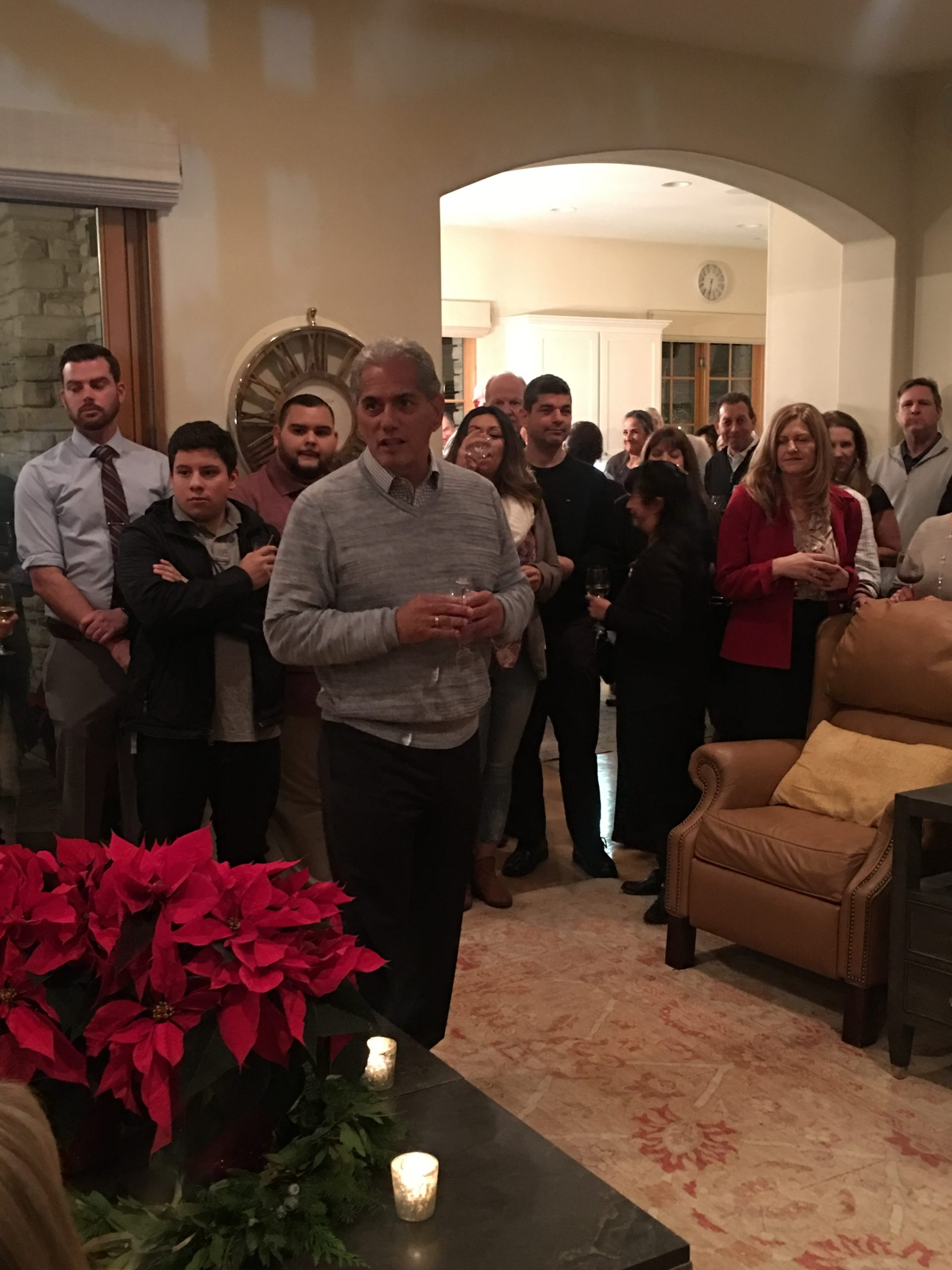 Photo of Edwin Diaz speaking at Gilroy Foundation's 2018 Holiday Party