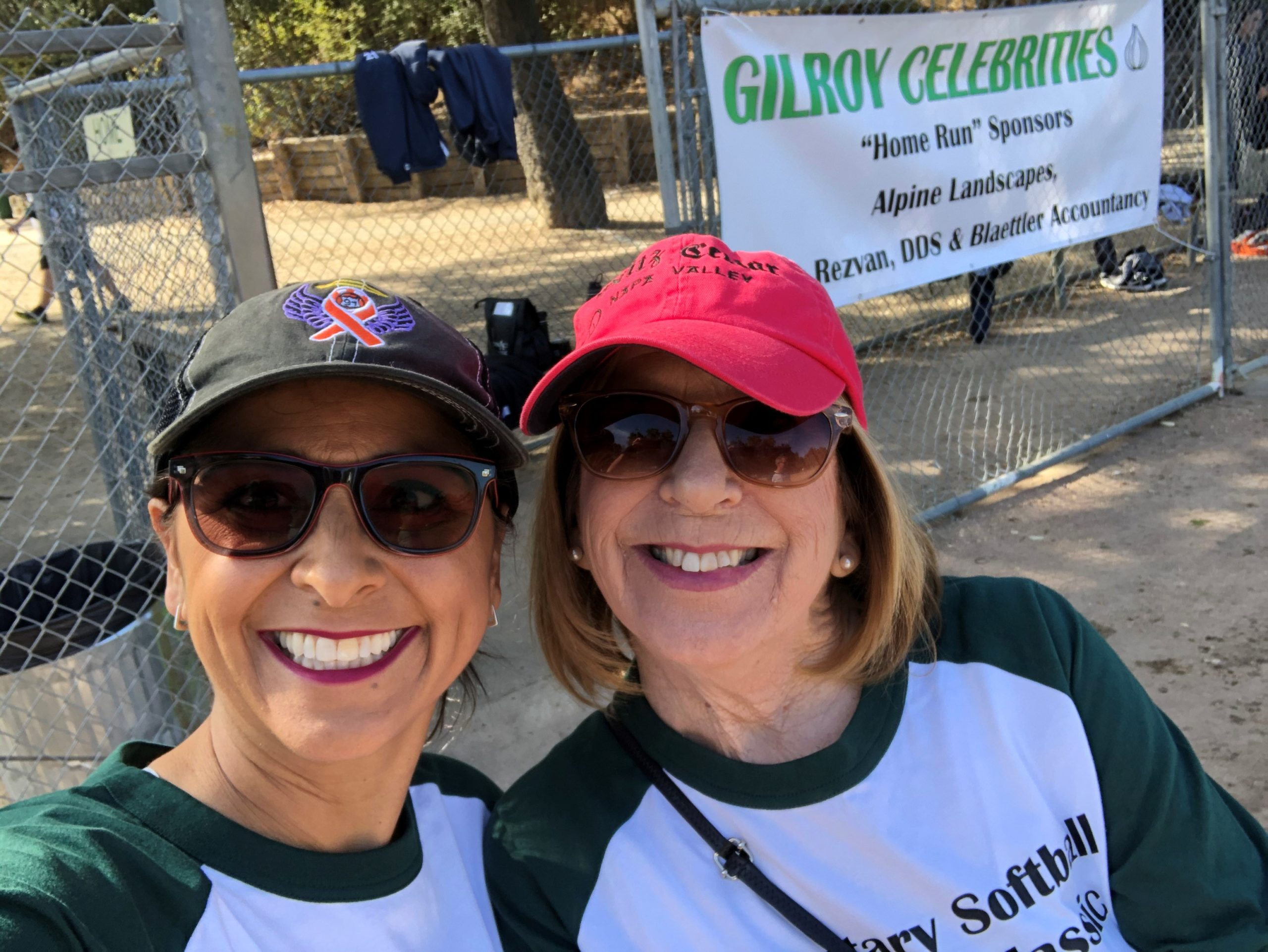 Photo of Donna Pray and Deb Sanchez at the Celebrity Softball Game