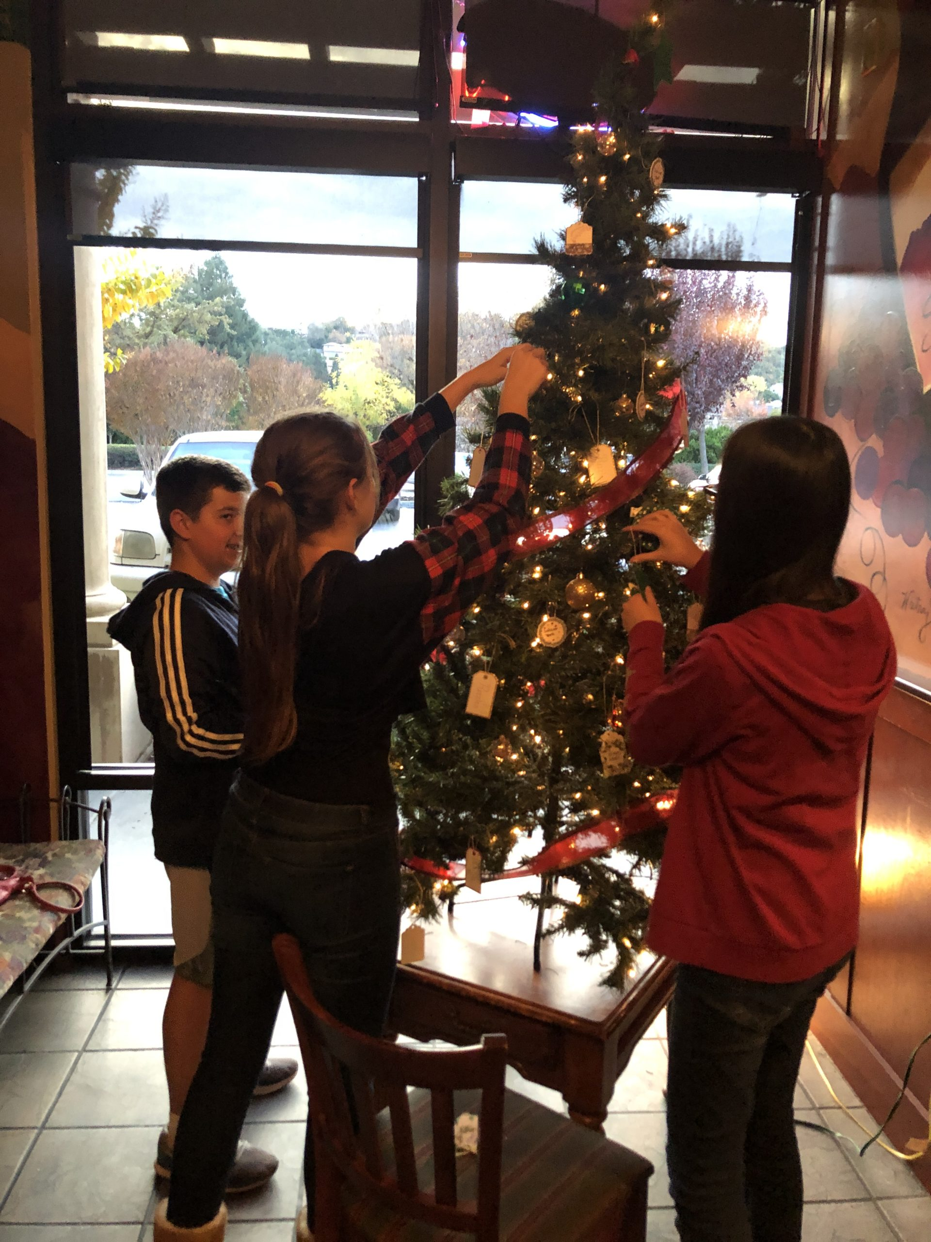 Photo of Gilroy Foundation kids decorating a Christmas tree