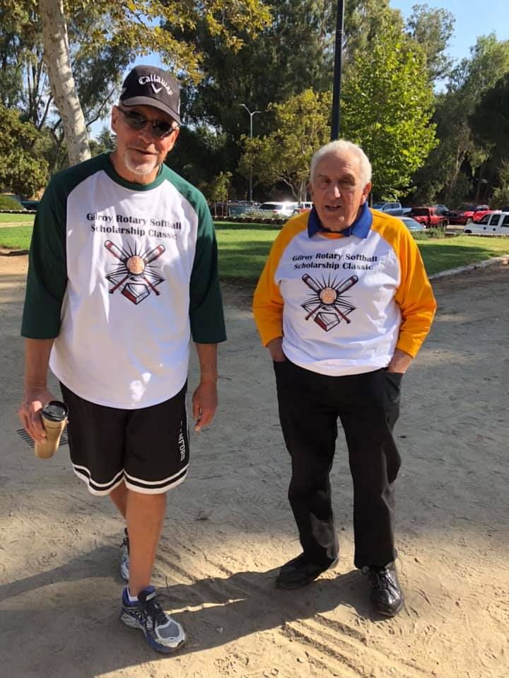 Photo of Jay Baksa and Sam Bozzo at the Gilroy Celebrity Softball Game
